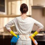 woman with cleaning gear